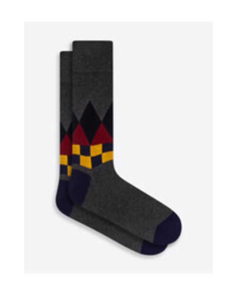 BUGATCHI UOMO Grey Cotton Cashmere Argyle Sock