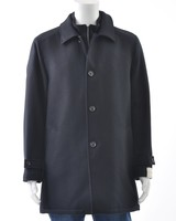 JACK VICTOR Black Twill Wool Coat