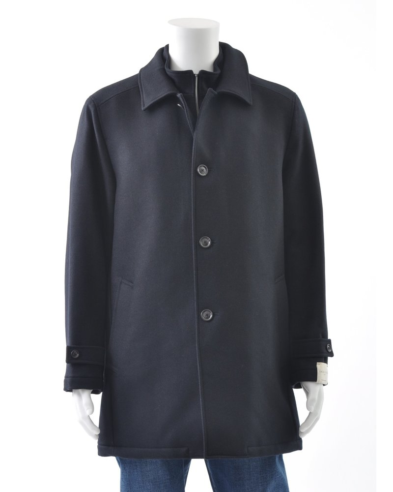 JACK VICTOR Black Twill Wool Coat