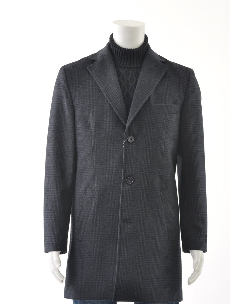 SUITOR Slim Fit Navy Glencheck Overcoat
