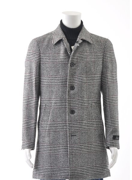 SUITOR Slim Fit Grey Glencheck Overcoat