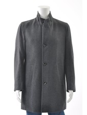 BUGATTI Mid Grey Wool Overcoat