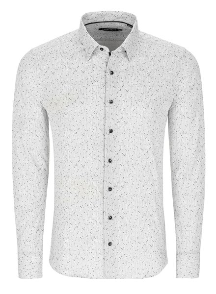 STONE ROSE Modern Fit White with Olive Stretch Shirt