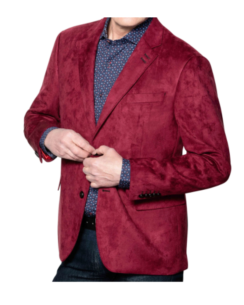 7 DOWNIE Modern Fit Red Micro Suede Sport Coat