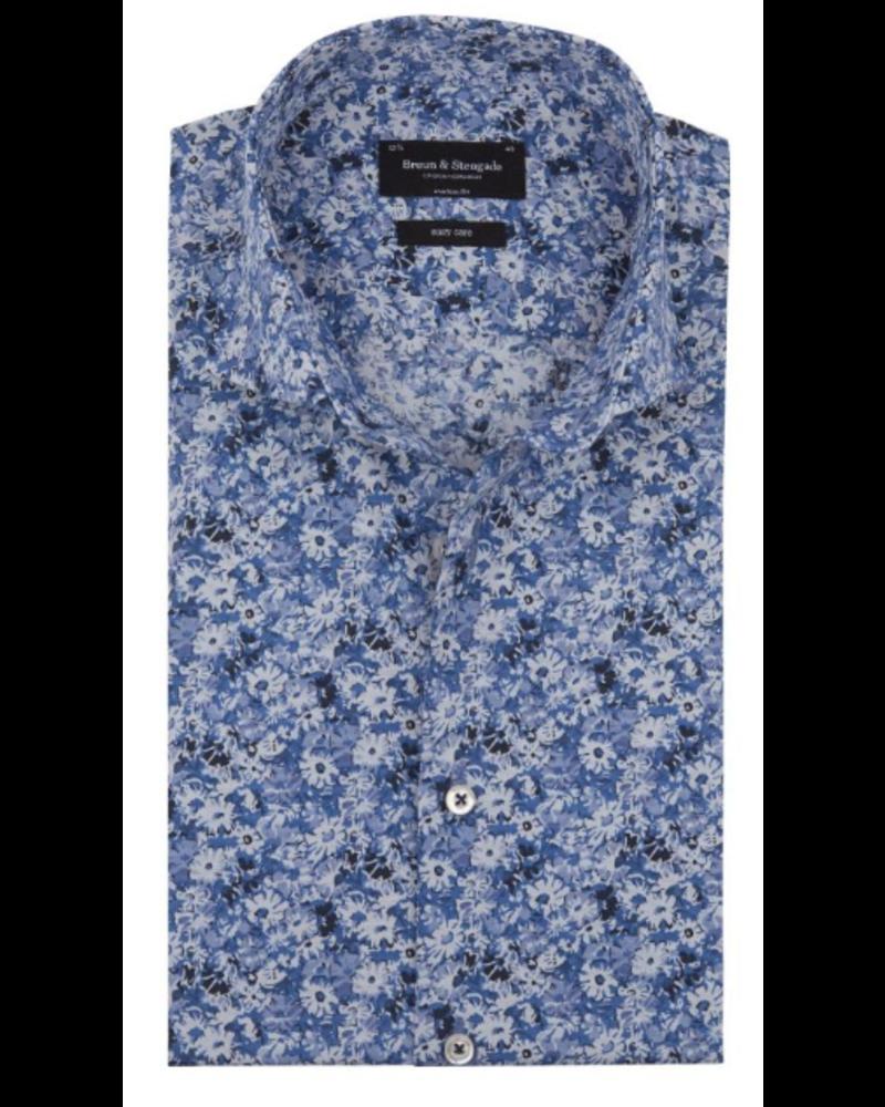 BRUUN & STENGADE Modern Fit Blue Floral Shirt