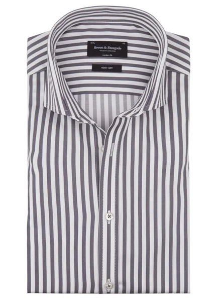BRUUN & STENGADE Modern Fit Wide Striped Shirt
