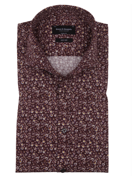 BRUUN & STENGADE Modern Fit Bordeaux Floral Shirt