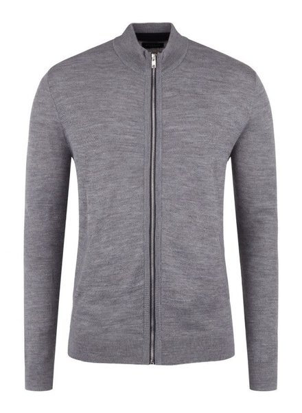 BRUUN & STENGADE Wool Blend Grey Full Zip Sweater
