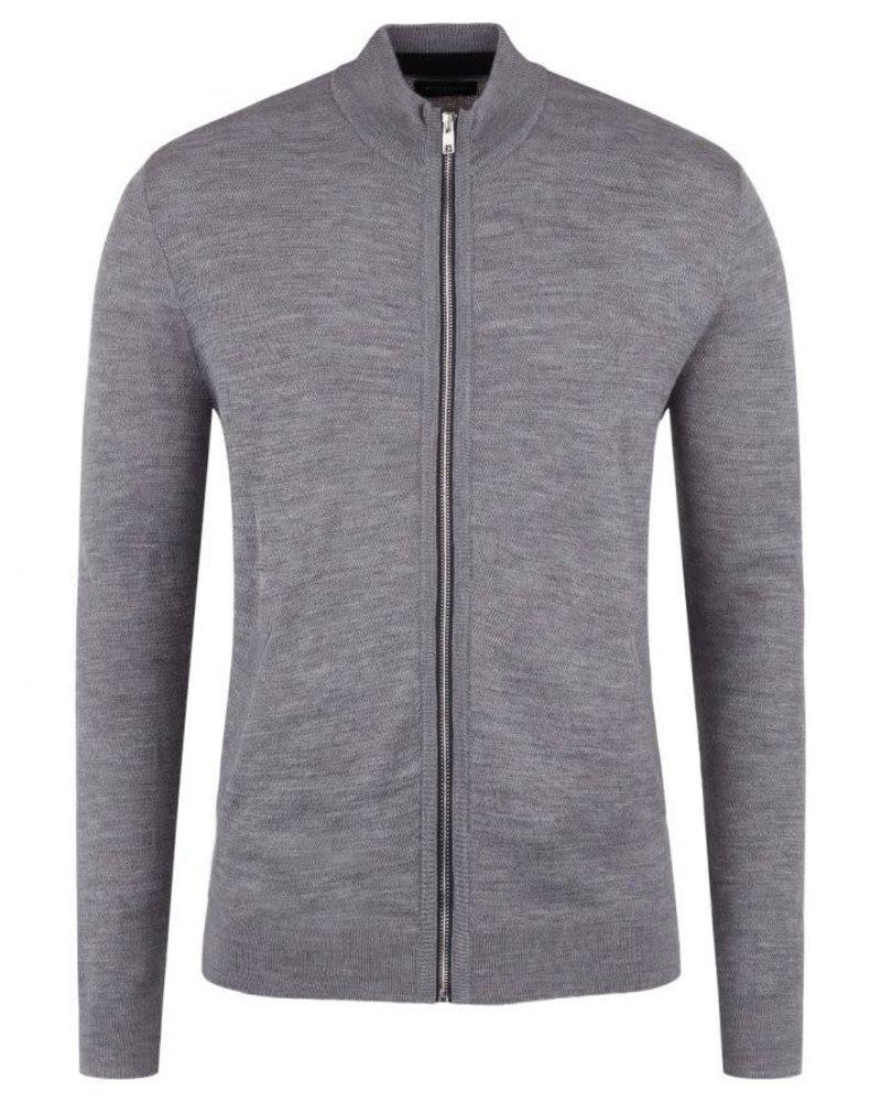 BRUUN & STENGADE Wool Blend Grey Full Zip Sweater