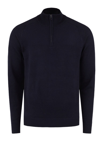 BRUUN & STENGADE Navy Wool Blend 1/4 Zip Sweater