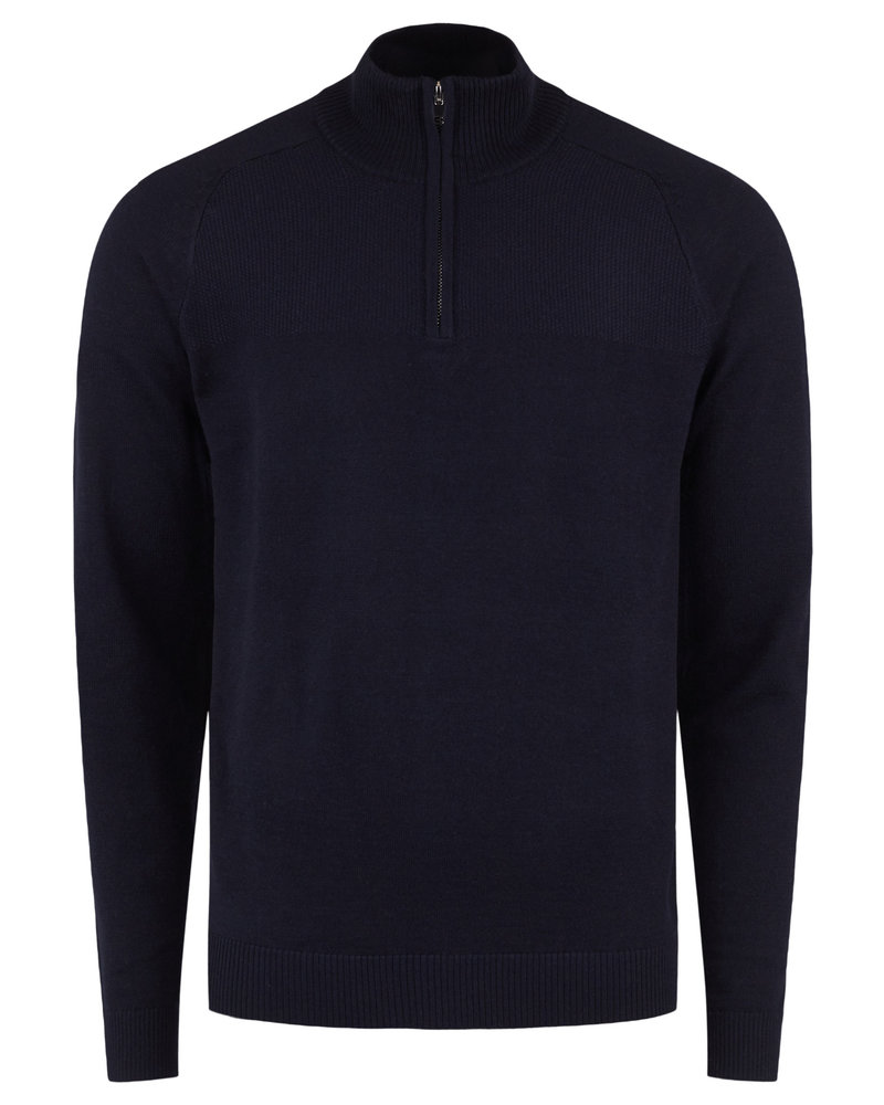 BRUUN & STENGADE Navy Wool Blend 1/4 Zip Sweater