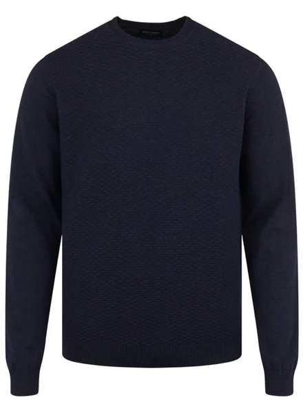 BRUUN & STENGADE Navy Cotton Textured Crewneck Sweater