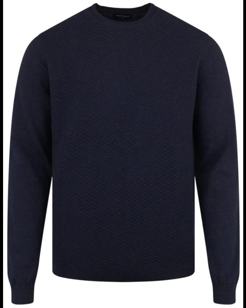 BRUUN & STENGADE Navy Cotton Textured Crewneck Sweater