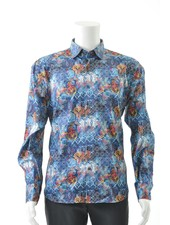 LUCHIANO VISCONTI Modern Fit Multi Color Mosiac Shirt