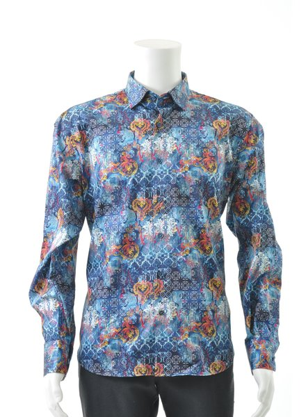 LUCHIANO VISCONTI Modern Fit Multi Color Mosiac Shirt
