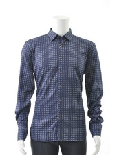 LUCHIANO VISCONTI Modern Fit Blue Block Stretch Shirt