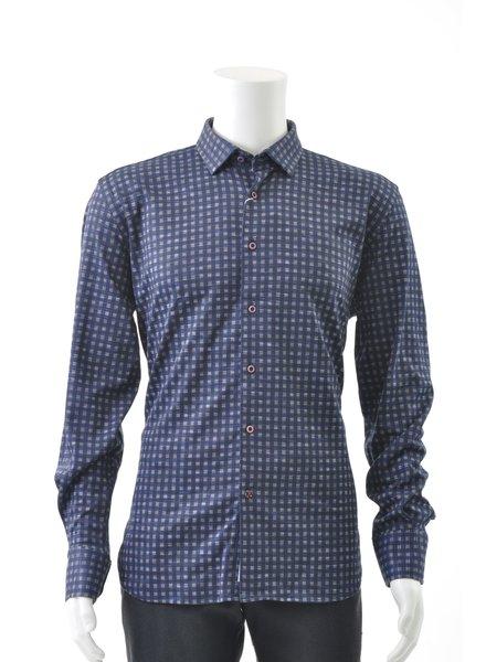 LUCHIANO VISCONTI Modern Fit Blue Block Stretch Shirt