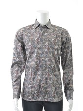 LUCHIANO VISCONTI Modern Fit Brown Paisley Shirt