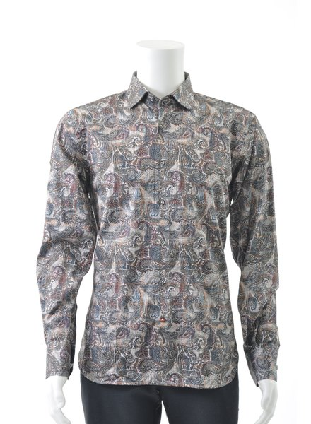 LUCHIANO VISCONTI Modern Fit Brown Paisley Shirt