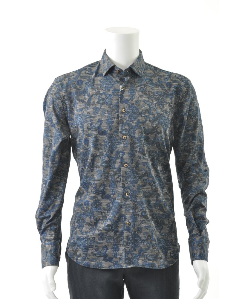 LUCHIANO VISCONTI Modern Fit Brown Blue Paisley Stretch Shirt