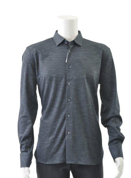 LUCHIANO VISCONTI Modern Fit Navy Stretch Shirt