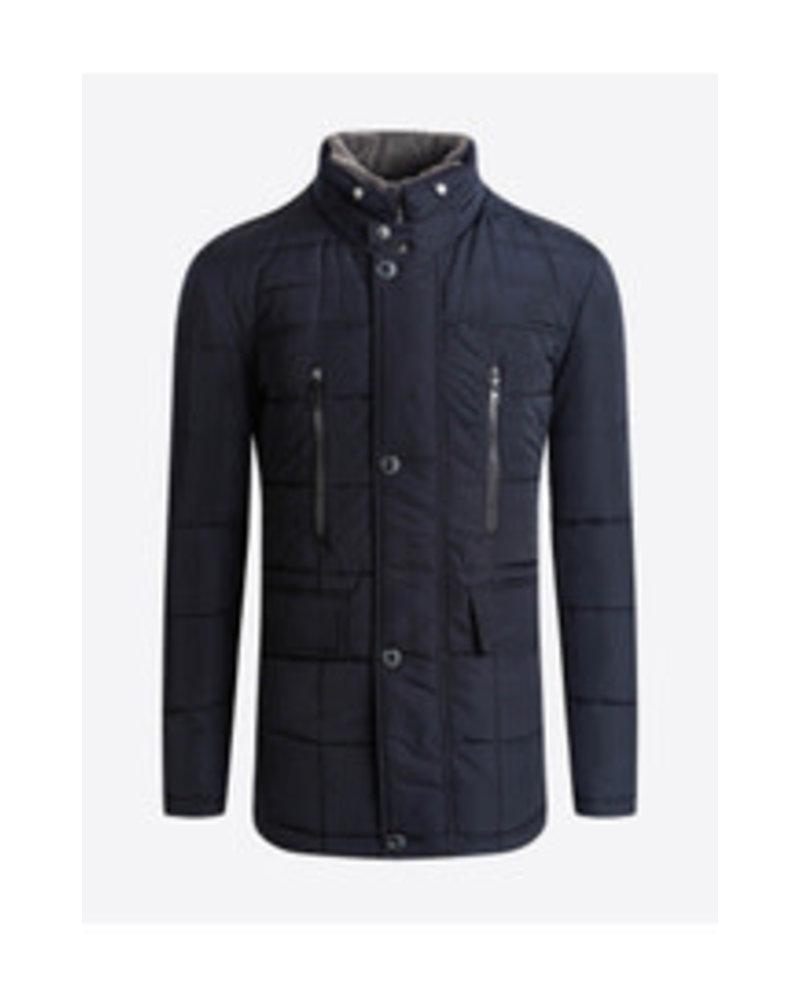 BUGATCHI UOMO Navy Quilted Fur Collar Coat