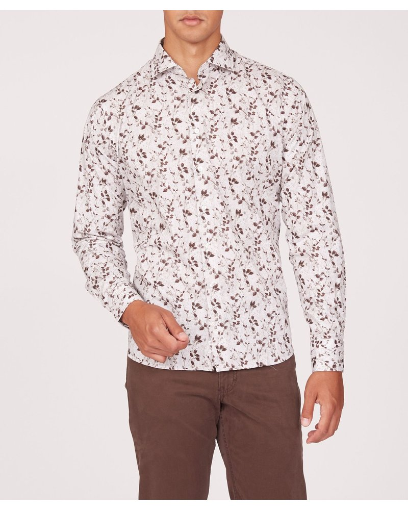 BRAX Modern Fit Tan Floral Shirt