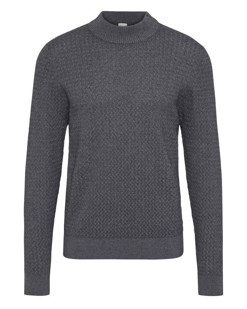 BUGATTI Grey Mock Neck Sweater