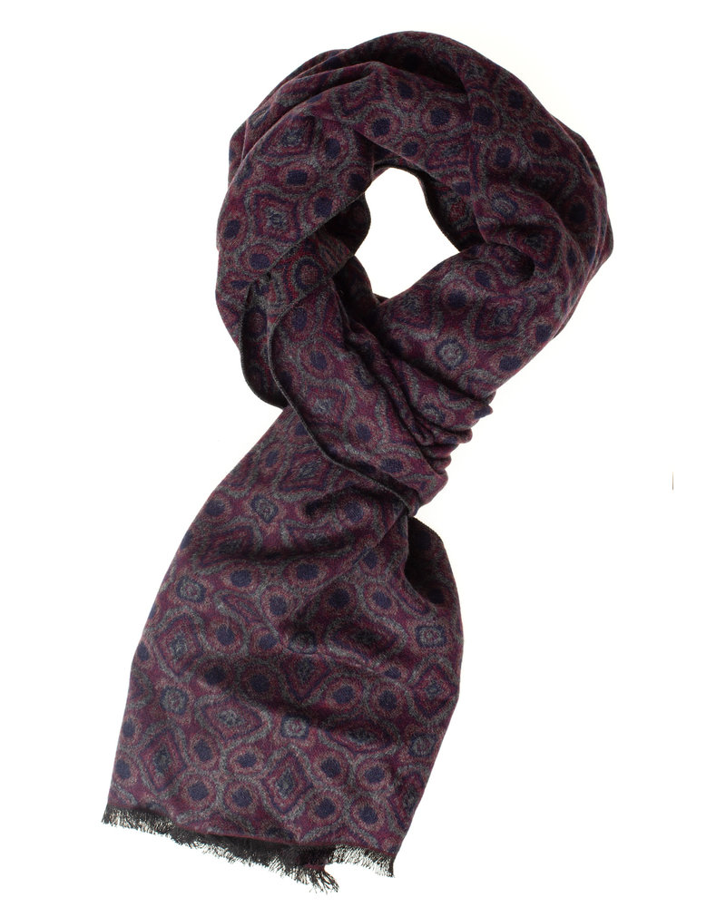 BUGATTI Grey Burgundy Navy Scarf