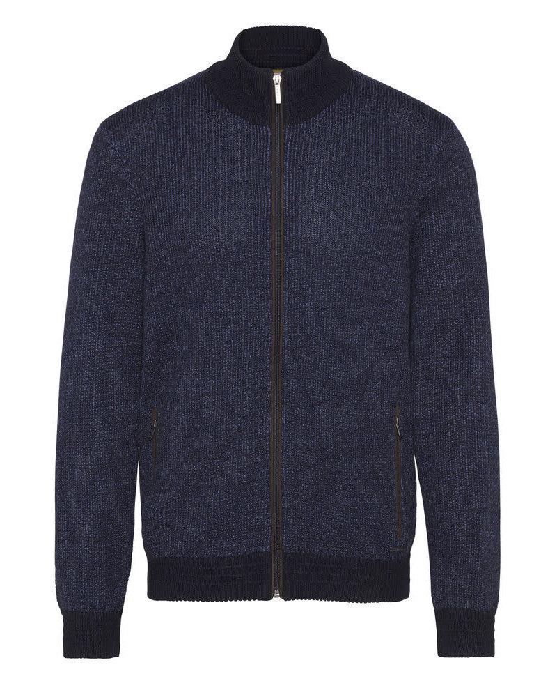 BUGATTI Navy Full Zip Sweater