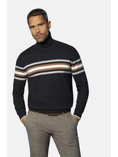 BUGATTI Charcoal with Chest Stripe Turtle Neck Sweater