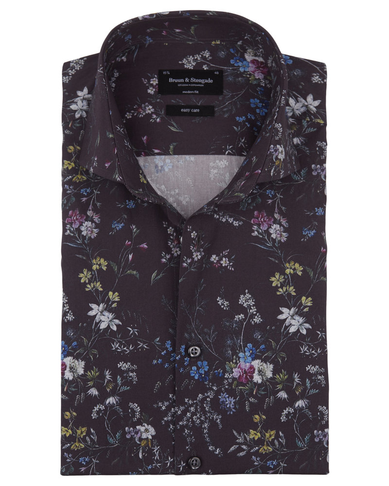 BRUUN & STENGADE Modern Fit Black Floral Shirt