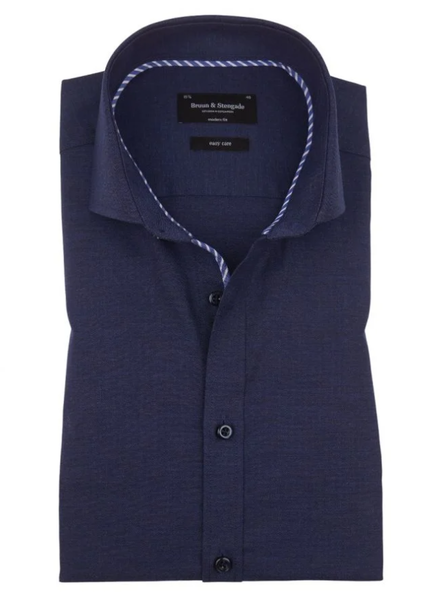 BRUUN & STENGADE Modern Fit Blue Herringbone Shirt