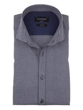 BRUUN & STENGADE Modern Fit Blue Grey Gingham Shirt