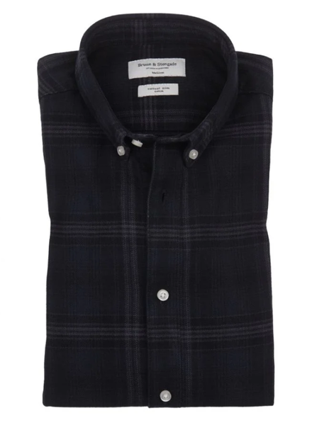 BRUUN & STENGADE Modern Fit Plaid Flannel Shirt