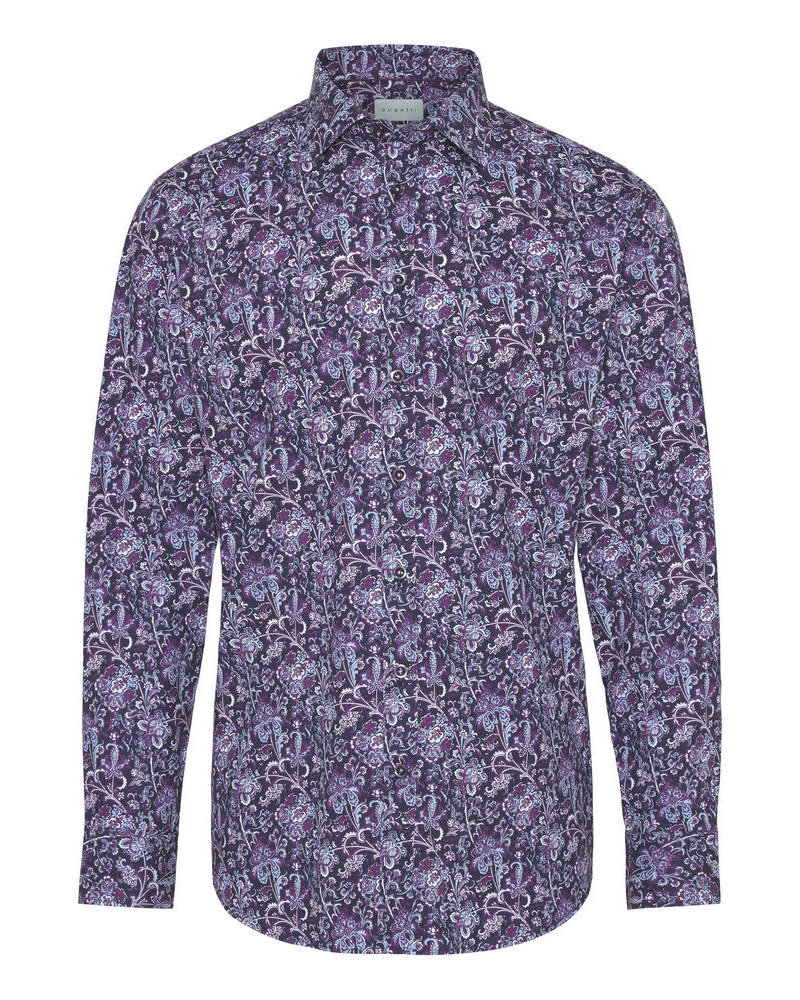 BUGATTI Modern Fit Plum Paisley Shirt