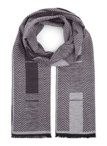 BRUUN & STENGADE Grey Patterned Silk Scarf
