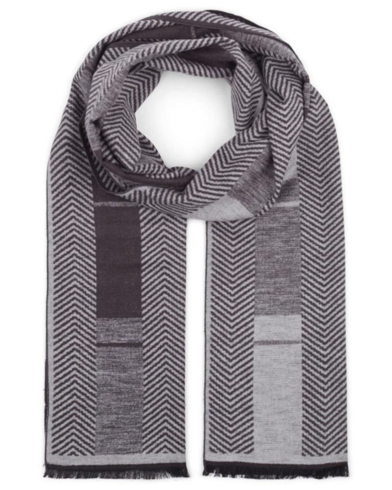 BRUUN & STENGADE Grey Patterned Silk Scarf