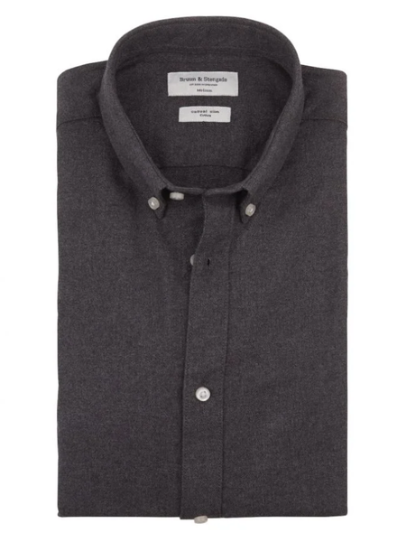 BRUUN & STENGADE Modern Fit Plain Flannel Shirt