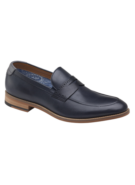 JOHNSTON & MURPHY Milliken Navy Penny Loafer Shoe