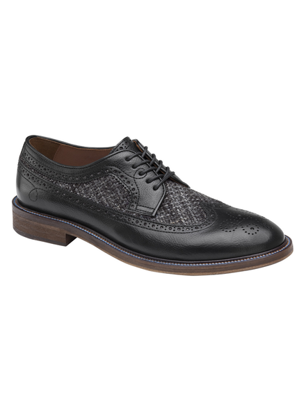 JOHNSTON & MURPHY Brewer Black Wingtip Calfskin/Wool Shoe