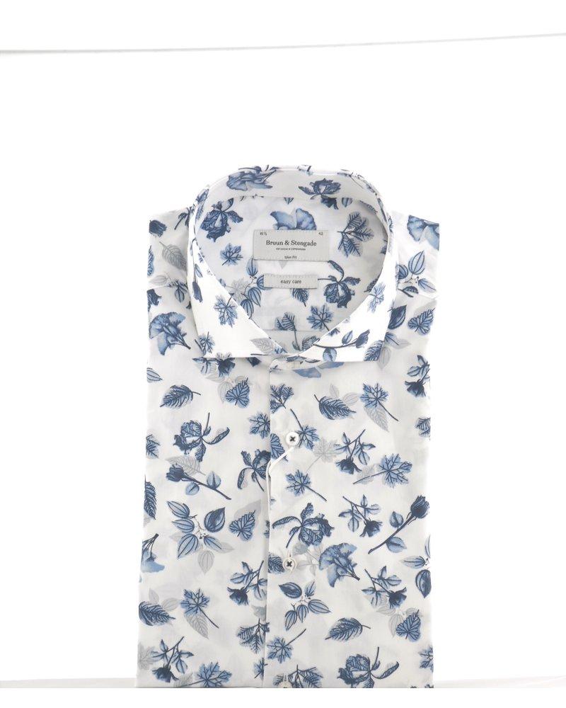 BRUUN & STENGADE Slim Fit White Floral Shirt