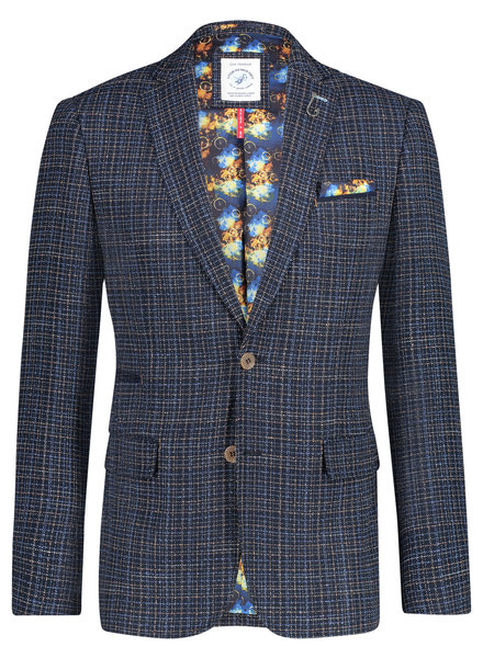 A FISH NAMED FRED Slim Fit Blue Beige Woven Sport Coat