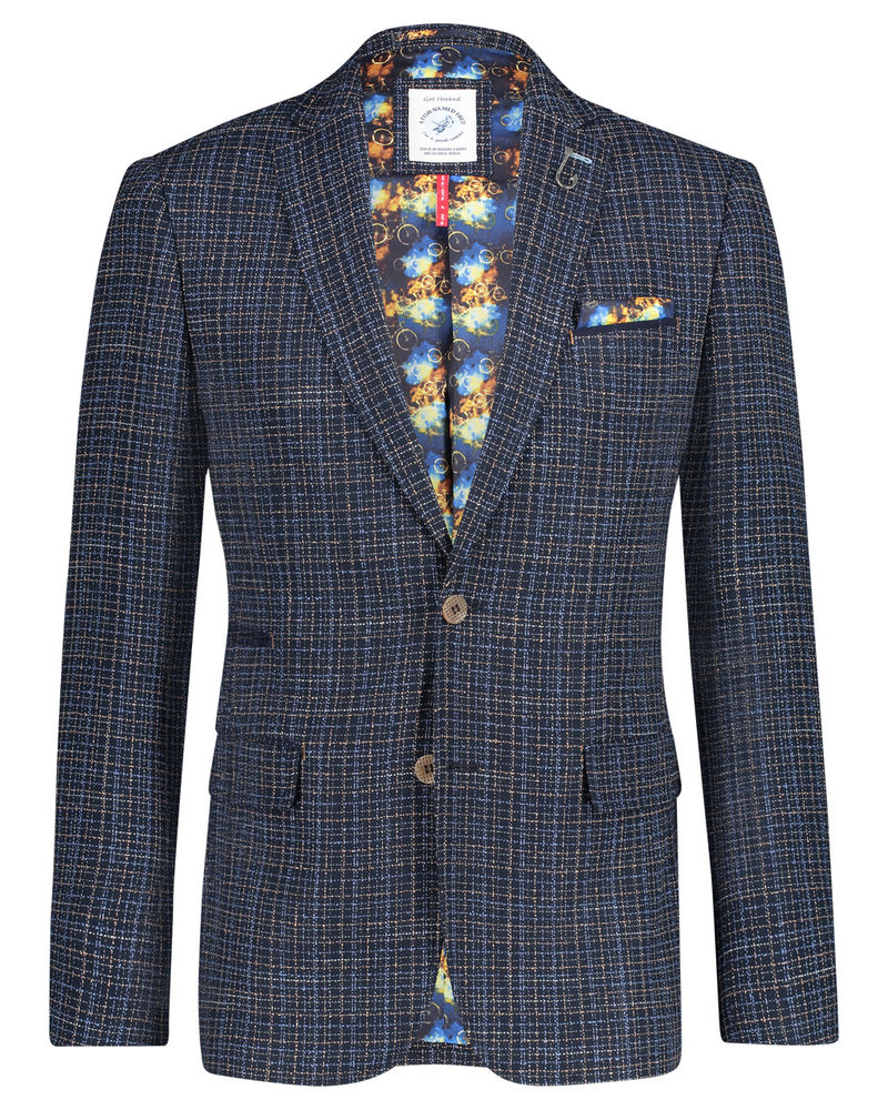 A FISH NAMED FRED Modern Fit Blue Beige Woven Sport Coat