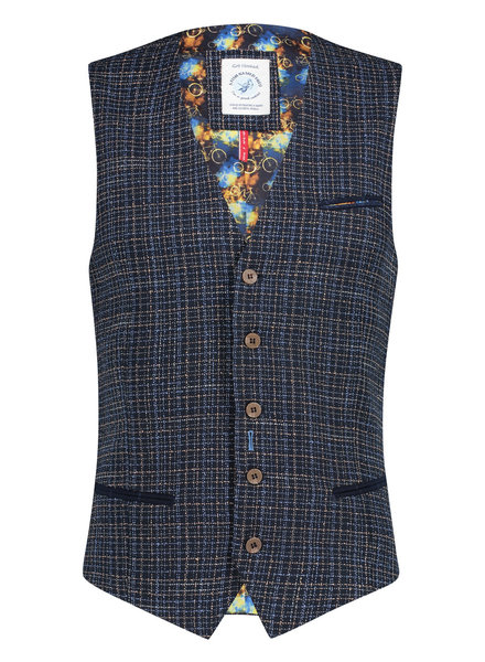 A FISH NAMED FRED Blue Beige Woven Waistcoat
