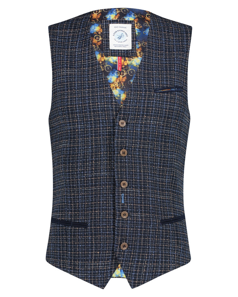 A FISH NAMED FRED Blue Beige Woven Vest