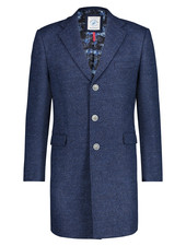 A FISH NAMED FRED Modern Fit Blue Wool Blend Overcoat