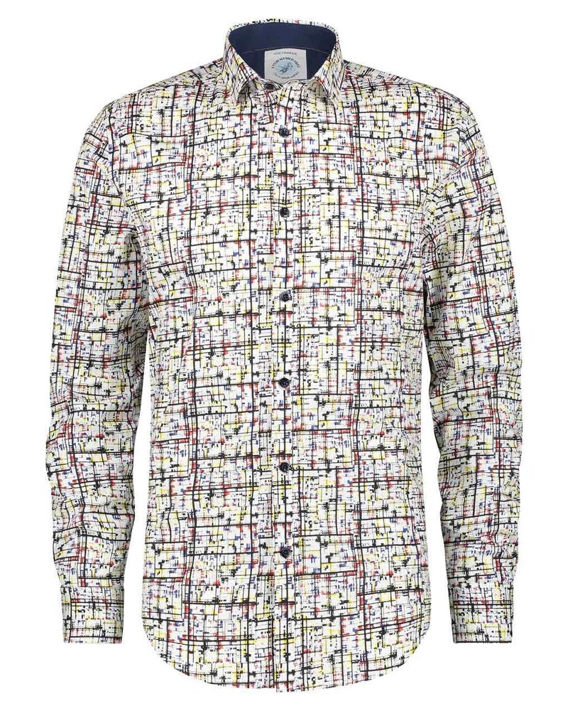 A FISH NAMED FRED Modern White Mondriaan Art Shirt