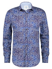 A FISH NAMED FRED Modern Fit Blue Bicycle Stamps Shirt