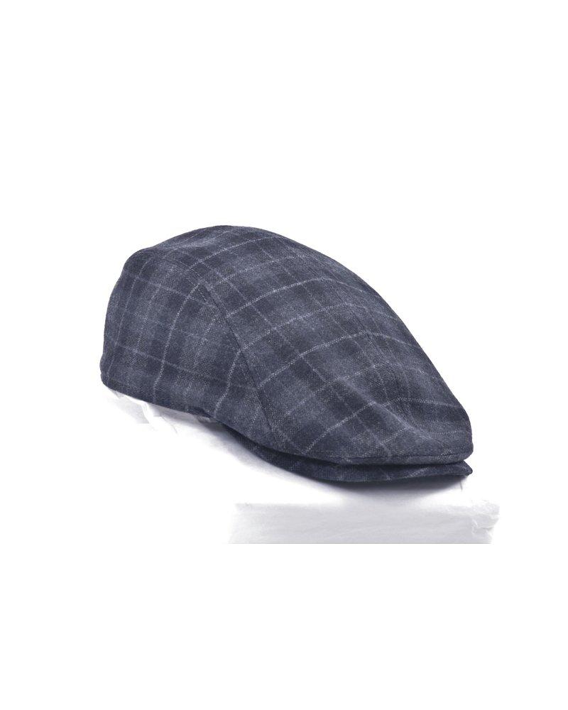 Blue Plaid Wool Twill Cap